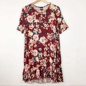 Agnes & Dora Floral Ruffle Hem Tunic Dress Sz L